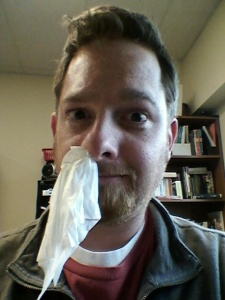 Contagious much - 4-15-13 - 1 - kleenex in nose